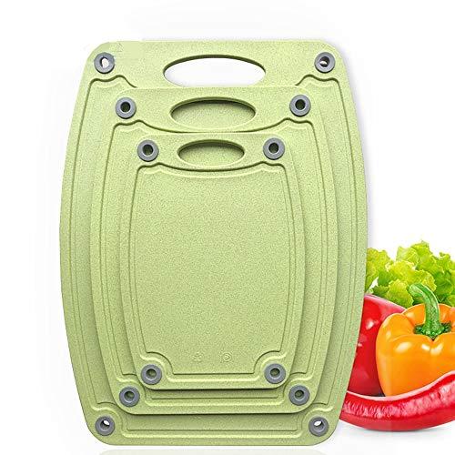 Peggy Gu-wok Jugo de Groove Antideslizante Tablas de Cortar Set 3 Pack de plástico Tabla de Cortar Profesional de Cocina Tablas de Cortar Pueden Lavar en lavavajillas y fácil de Limpiar (Verde)