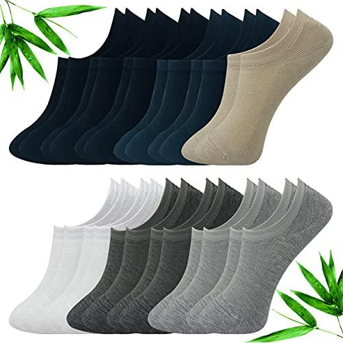Calcetines Invisibles Hombre con Silicona Antideslizante,Fibra de Bambú,Transpirable,Antibacteria y Antialérgeno,12 Pares de Calcetín Corto,Color Negro Blanco Beige Gris y Azul Oscuro