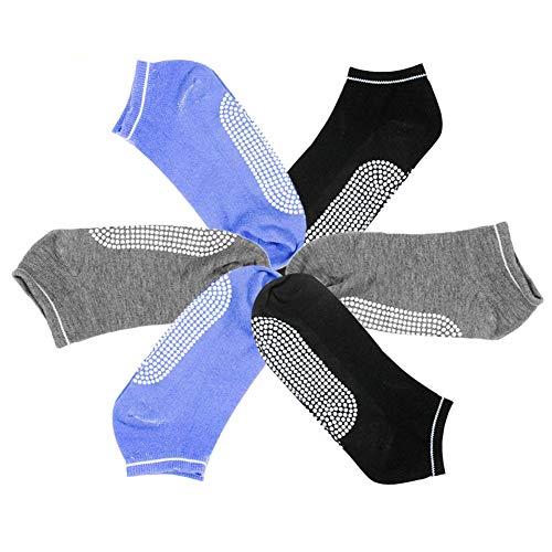 WENTS Calcetines de Yoga 6 Pares Calcetines de Yoga Mujer Calcetines Antideslizantes Calcetines Antideslizantes con Suela de Goma para Pilates Yoga la Casa (Negro/Azul/Gris)