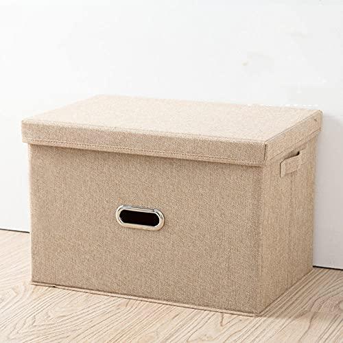 Organizador de almacenamiento plegable con tapa y soporte de etiquetas, 44 * 29 * 30 cm, tela no tejida, gris-de color crema_50 * 35 * 31 cm