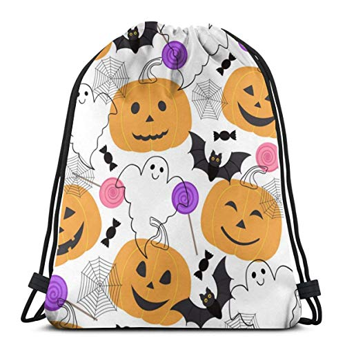 AEMAPE Happy Halloween Stylish Backpack Cinch Sack String Travel Drawstring Bag Storage Pouch Women Girls Kids Gifts 36x43 cm-MT