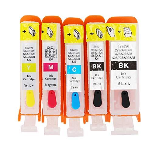 Cartucho de tinta de repuesto, duradero y reutilizable PGI-525BK CLI-526BK / C/M/Y Cartucho de tinta profesional ecológico para impresora, para taller de impresión de oficina