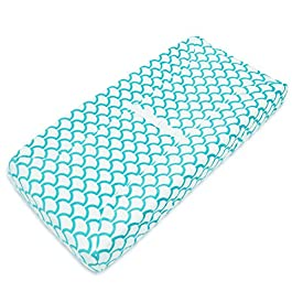 American Baby Company Heavenly Soft Chenille Fitted Contoured Changing Pad Cover, Aqua Sea Wave, for Boys and Girls