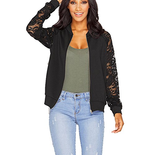 LEXUPE Women Autumn Winter Warm Comfortable Coat Casual Fashion Jacket Long Sleeve Lace Blazer Suit Casual Jacket Coat Outwear Black