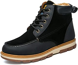 Sunny&Baby Men's Fashion Work Ankle Boots Casual Classic Lacing Up Warm Faux Fleece Inside High Top Tough Outdoor Shoes Durable (Color : Black, Size : 8 UK)