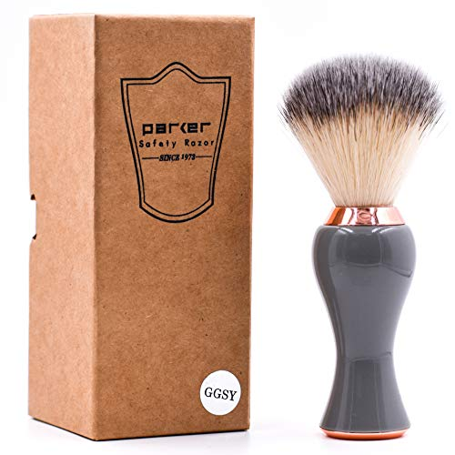 Parker Safety Razor - Deluxe Grey and Rose Gold Handle Premium Synthetic Bristle Men's and Women's Shaving Brush with Stand