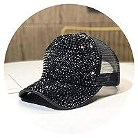 帽子のレディースのラインストーンキャップ春と秋ファッション野球帽おしゃれ夏の手ちりばめた人気,調整可能,ネットキャップブラック