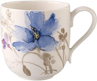 Villeroy & Boch Mariefleur Gris Basic Coffee Cup, 350 ml, Height: 9 cm, Premium Porcelain, White/Multicoloured, 0.35 Litre