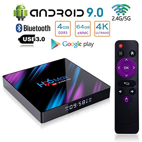 Android 9.0 TV Box, H96 Max Advanced Smart Video Media Player 4GB DDR3 64GB eMMC Quad-Core Suppporting 4K Ultra HD/H.265 / Dual WiFi 2.4G + 5G / HDMI / 3D 100M Ethernet Family Video Play Box