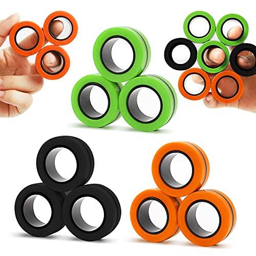 MILESTAR Finger Anillo magnético Juguetes 3 Paquetes Juego de Juguetes Fidget de Anillos magnéticos Juego de Dedos giratorios de Mano para Adultos y niños (9 Piezas)