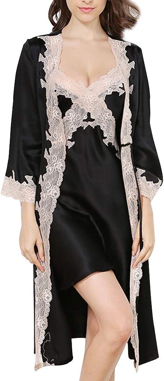 HUIFEI Pajamas Ladies Set 100% Silk Fabric Strap Nightdress Female Summer Sexy Pajamas Lace Temptation Home Clothing (color   Black, Size   XL)