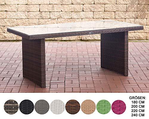 CLP Polyrattan Tisch Avignon I Gartentisch Aus Flachrattan I Esstisch In Verschiedenen Größen Braun Meliert, 180 cm