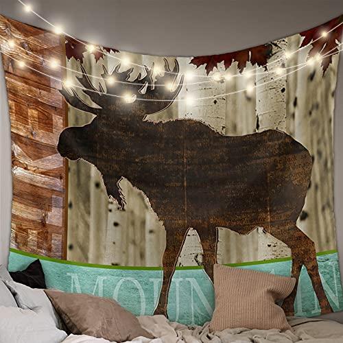 MUSEDAY Wall Hanging Bedding Tapestry Forest Animal Elk Leaves Vintage Wood Grain Tapestry Wall Decor Blanket Bedspread Picnic Sheet Room Dorm Home Decor- 85''x90''
