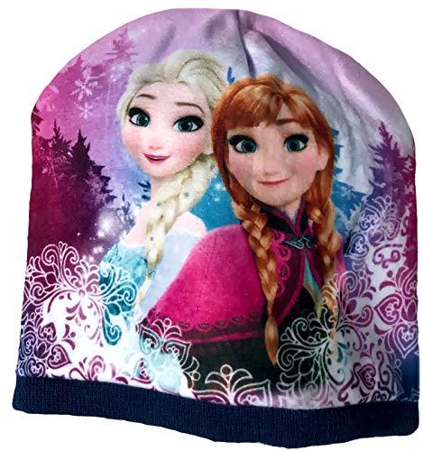 Eisköngin Beanie Mütze für Mädchen Anna und ELSA Frozen völlig unverfroren Gr. 52 + 54 (Pink, 52)