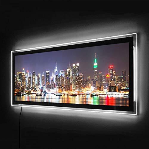 LED Panorama Leuchtbild Wohnzimmer Acrylglas Wand Bild Beleuchtetung mit Fernbedienung Nachtlicht Beleuchtetes Wandbild (100x40, New York Skyline)