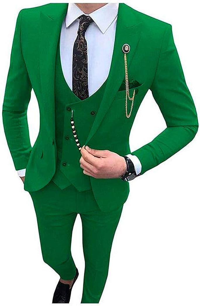 Men's 3 PC Slim Fit Wedding Suit Single Breastest One Button Jacket Vest Pants Prom Tuxedos Casual Wear