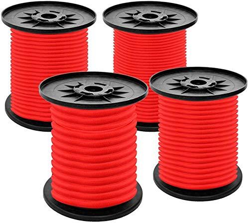 S SIENOC Expanderseil Gummiseil Gummischnur Spannseil Planenseil Gummileine elastisches Seil spannen Gummikordel und befestigen Gummileine Seil (Rot, 4 mm - 10 m)