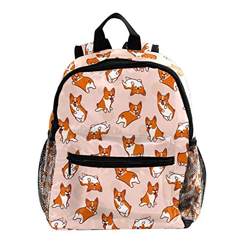 Cool Backpack Kids Sturdy Schoolbags Back to School Backpack for Boys Girls,Pink Corgis Dog