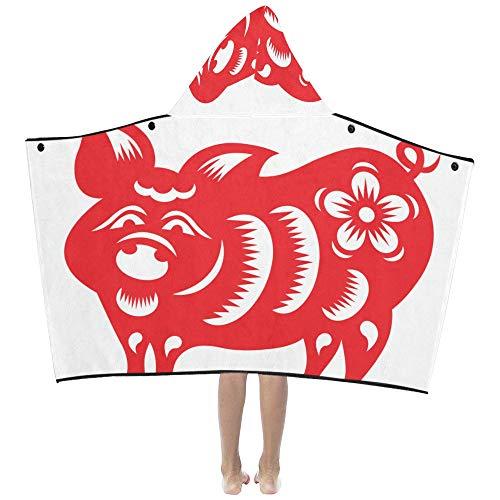 Chinesisches rotes Schweinpapier geschnittene weiche warme Baumwolle gemischt Kinder verkleiden sich mit Kapuze tragbare Decke Badetücher werfen Wrap für Kleinkinder Kind Mädchen Jungen Größe Reise