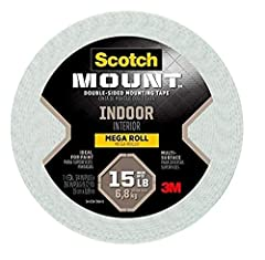 "Ideal for Painted Surfaces Intended for indoor use - Delivers a strong, permanent bond on contact Holds up to 15 lb with 3M industrial strength adhesive. To hold 1 lb use 4"". To hold 15 lb use 60"" Designed For: Painted Drywall, Finished Wood, Metal, ..."