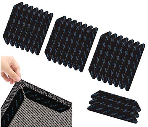 Alfombra Gripper de 24 piezas, antirizador, cinta adhesiva reutilizable para suelos duros...