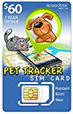 SpeedTalk Mobile 1 Year PET Tracker SiM Card   3 in 1 - GSM 4G LTE   for Dog/CAT Tracking and Activity Devices