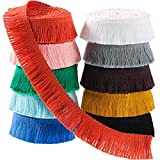 30 Yards 25 mm Wide Fringe Tassel Trim Multi-Colored Lace Trim Ribbon Fringe Trim Lace for Sewing Crafts Clothing, Curtains, 10 Colors