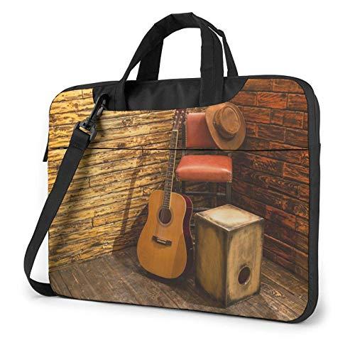 Bolso de Hombro Impreso Guitarra Abstracta del Ordenador portátil, maletín del Bolso de Mensajero del Negocio del Bolso de la Caja del Ordenador portátil
