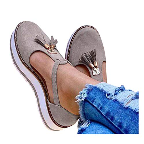 Cenglings Platform Sandals,Women's Tassel Round Toe Hollow Out T-Strap Wedge Sandals Buckle Ankle Strap Casual Beach Sneakers Gray