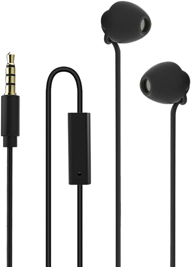 Ururtm Sleeping Headphones Earphones, Soft Comfortable Silicone Noise Isolating Earbuds with Mic Earplugs for Nighttime, Insomnia, Travel, Sport, Meditation & Relaxation (Black)