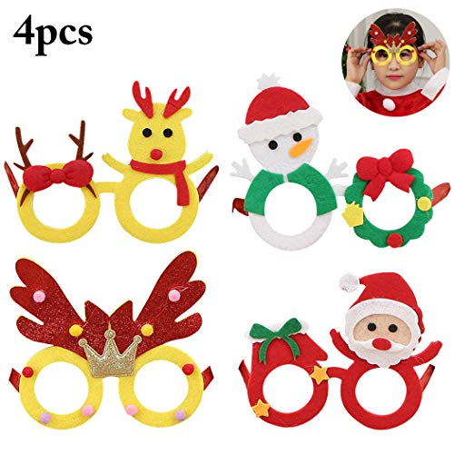 Zoylink 4 Paires Cadre De Lunettes De Noël pour Enfants Verres De Fête Mignon Antler Bonhomme De Neige Santa