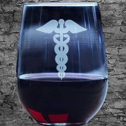 Caduceus Staff - Copa de vino sin tallo, vaso de whisky grabado, perfecto para padre, mamá, niño o amiga