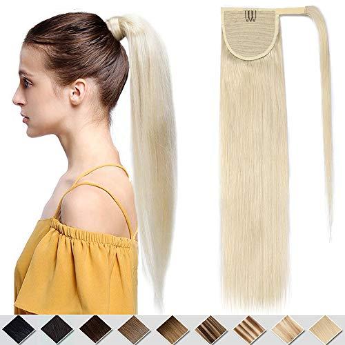Clip in Extensions Echthaar Platinblond #60 Pferdeschwanz Extension Haarteile Echthaar Zopf Ponytail Glatt Hochwertig Natürlich Haarverlängerung 35 cm 80 Gramm