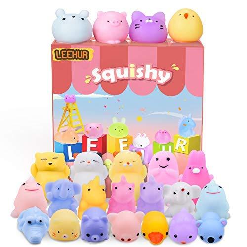 LEEHUR Nouvels 20 Pcs Squishy Toys Kawaii Squishy Jouet, Anti Stress Squishies, Mixed Mini Soft Squeeze Lot Mochi
