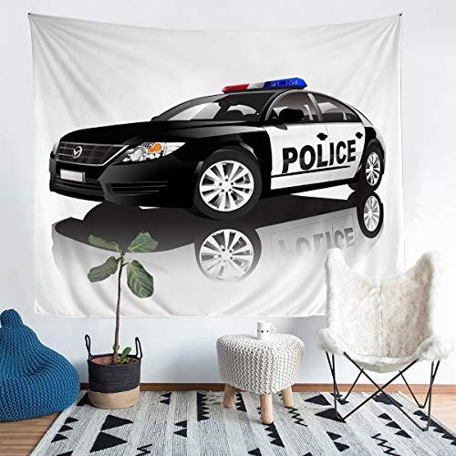 Manta de pared para coche de policía, patrón de coche, para niños, adolescentes, policía, vice ciudad, tapices para colgar en la pared, patrulla de seguridad pública, manta de cama mediana 51 x 59