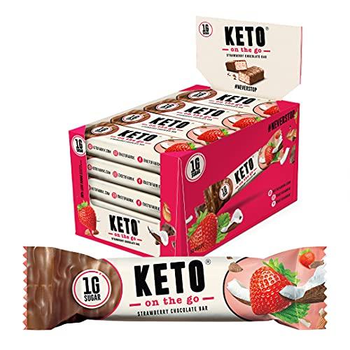 KETO On The Go Riegel   Schokolade Erdbeere   20er Box   Nur 1g Zucker pro Riegel   Bekannt aus 2 Minuten 2 Millionen