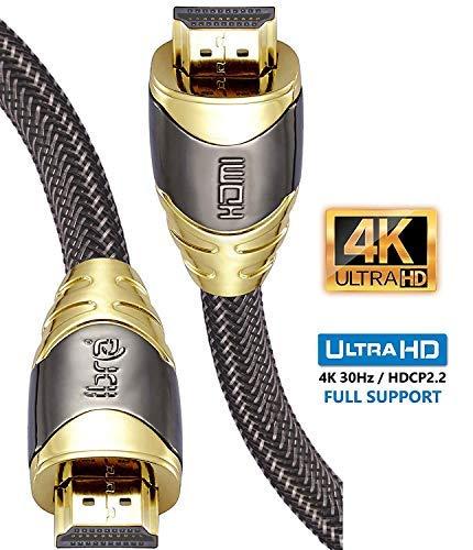 4K HDMI Kabel 40M HDMI 2.0b Kabel 4K@30Hz HighSpeed 18Gbps Nylon Geflecht Vergoldete Anschlüsse mit Ethernet/Audio Rückkanal,Kompatibel mit Video 4K UHD 2160p,HD 1080p,3D Xbox PS4-IBRA Luxury