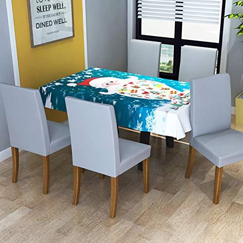 RONSHIN Cubierta de silla elástica para el hogar, impresión digital, cubierta de mesa de comedor, decoración de Navidad, mantel de 150 x 210 cm