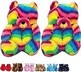 teddy bear slippers - Xiakolaka Teddy Bear Slippers for Women Ladies House Slipper Plush Fluffy Warm Cute Cozy Soft Home Indoor Shoes Dark Colorful 36-40
