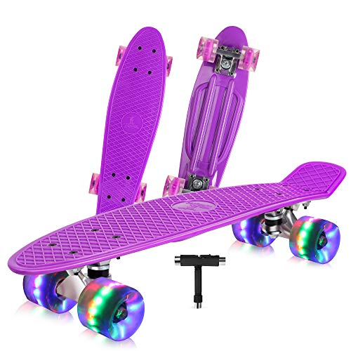 Learn More About BELEEV Skateboard 22 inch Complete Mini Cruiser Retro Skateboard for Kids Teens Adu...