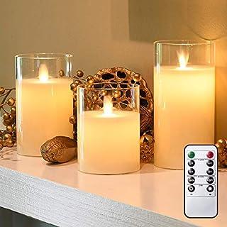 led キャンドル ろうそく ゆらぎ 3本セット 電池式 リモコン 蝋製 ガラス グラス 調光 インテリア 間接 照明 ランタン 北欧 キャンドルホルダー 室内 おしゃれ