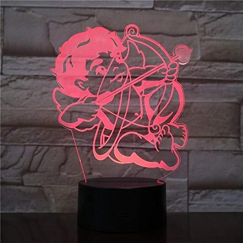 3D illusie licht 16 kleuren illusie toetsenbord licht engel amor 3D LED nachtlicht slaaplicht 3D nachtlamp tafellamp kerstdecoratie sfeer USB tafellamp