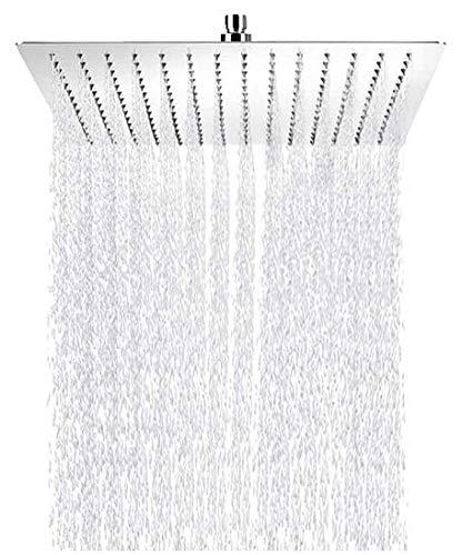 NAIZY Duschkopf Duschbrause Edelstahl Modern Regendusche mit Anti-Kalk-Düsen Regenbrause (40cm, 16 Zoll, Quadrat)