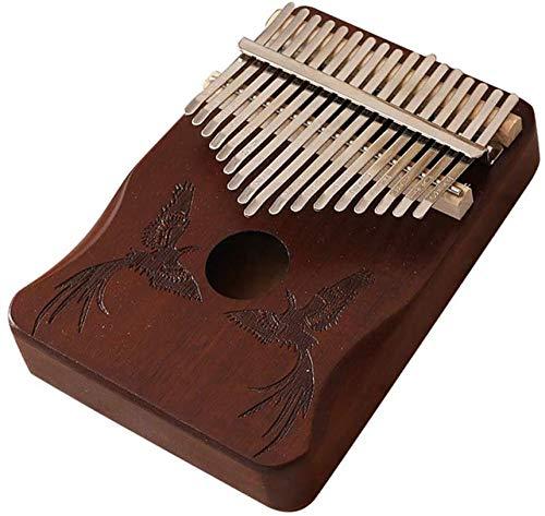 CRTTRC Stylish 17 Tasten Kalimba African Thumb Finger Piano Holz Kalimba Tragbares Musikinstrument-Phönix_Kaffee