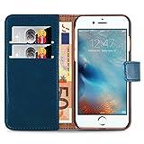 iPhone 8 Plus, iPhone 7 Plus Lederhülle | JAMMYLIZARD Ledertasche [ Retro Series ] Leder Hülle Flip Hülle Cover Schutzhülle mit Kartenfach, Blaugrün