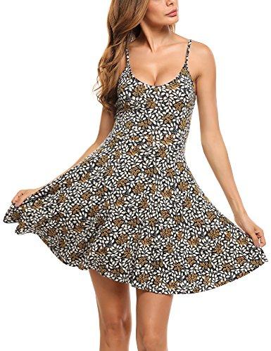 Unibelle Damen Ärmelloses, verstellbares Riemchensommer Strand Swing Kleid für Damen