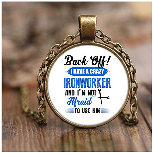 OMANECK I Have A Crazy Ironworker Necklace Antique Brass, I'm an Ironworker's Wife Necklaces (Necklace - Antique Brass - White)