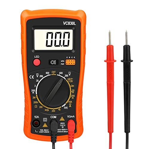 Digital Multimeter, Zorara Multimeter AC/DC Voltmeter DC Strom Widerstand Transistor Diode Durchgangsprüfer Spannungsprüfer Stromprüfer mit Hintergrundbeleuchtung LCD Display (Orange)