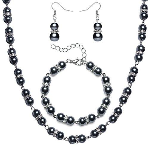 ArtiDeco 1920s Damen Halskette Hochzeit Braut Schmuck Accessoires Set Imitation Perlen Kette Retro Stil Armband und Ohrringe Gatsby Kostüm Zubehör (Grau)
