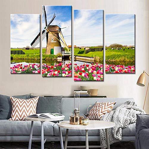 SHHSGZ 4 Panel Modern leinwand Drucken malerei hd Bilder und Plakat Modulare Malerei Tulpen Windmühle an Bild auf Leinwand Wohnzimmer Wohnkultur -160x100cm